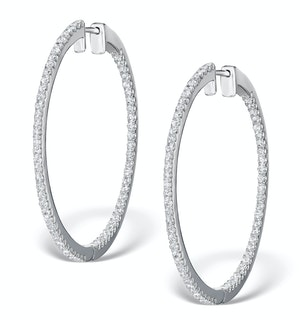 Diamond Hoop Earrings 1.50ct H/Si in 18K White Gold - P3488Y