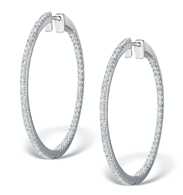 Diamond Hoop Earrings 1.50ct H/Si in 18K White Gold - P3488Y - image 1