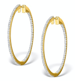 Diamond Hoop Earrings 1.50ct H/Si 18K Gold - P3488