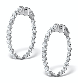 Diamond Hoop Emily Earrings 3.06ct H/Si in 18K White Gold - P3489Y