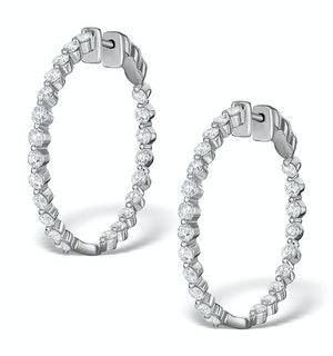 Diamond Hoop Emily Earrings 3.06ct H/Si in 18K White Gold - P3489Y