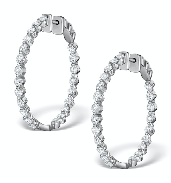 Diamond Hoop Emily Earrings 3.06ct H/Si in 18K White Gold - P3489Y - image 1