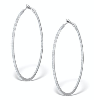 Diamond Hoop Earrings 1ct H/Si 18K White Gold - P3480Y