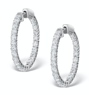Diamond Hoop Earrings 4ct H/Si in 18K White Gold - P3481Y