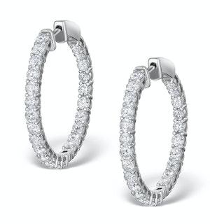 Diamond Hoop Earrings 4ct H/Si in 18K White Gold - P3481Y