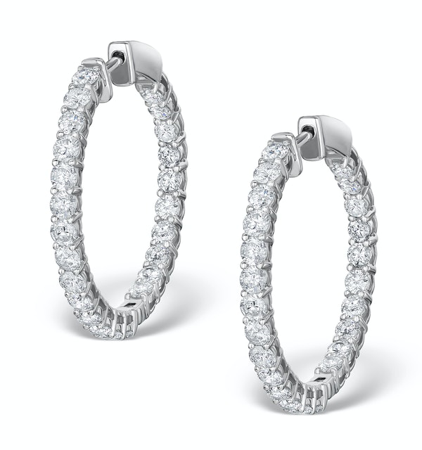 Diamond Hoop Earrings 4ct H/Si in 18K White Gold - P3481Y - image 1