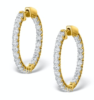 Diamond Hoop Earrings 4ct H/Si in 18K Gold - P3481