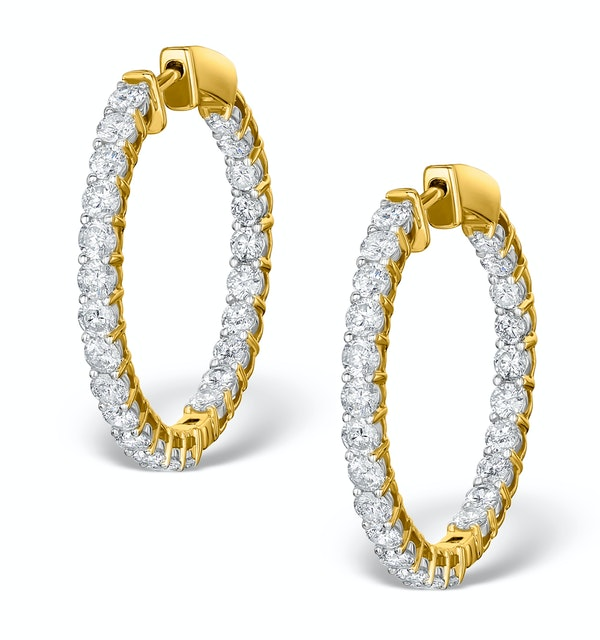 Diamond Hoop Earrings 4ct H/Si in 18K Gold - P3481 - image 1