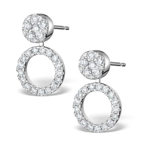 Athena Diamond Drop Earrings Multi Wear 1ct in 18K White Gold - P3492 - image 1