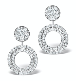 Athena Diamond Drop Earrings Multi Wear 1ct in 18K White Gold - P3493