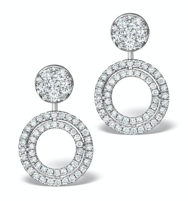 Athena Diamond Drop Earrings Multi Wear 1ct in 18K White Gold - P3493 - image 1