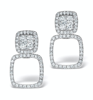 Athena Diamond Drop Earrings Multi Wear 0.96ct 18K White Gold - P3495