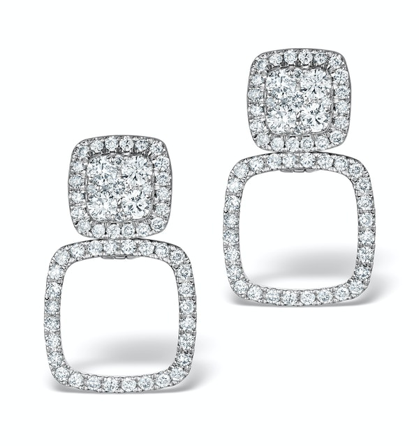 Athena Diamond Drop Earrings Multi Wear 0.96ct 18K White Gold - P3495 - image 1