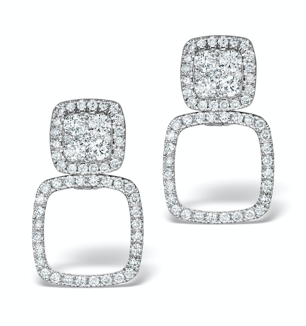Athena Diamond Drop Earrings Multi Wear 0.96ct 18K White Gold - P3495 - image 1