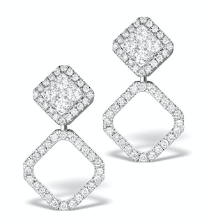 Athena Diamond Drop Earrings Multi Wear 1ct in 18K White Gold - P3496
