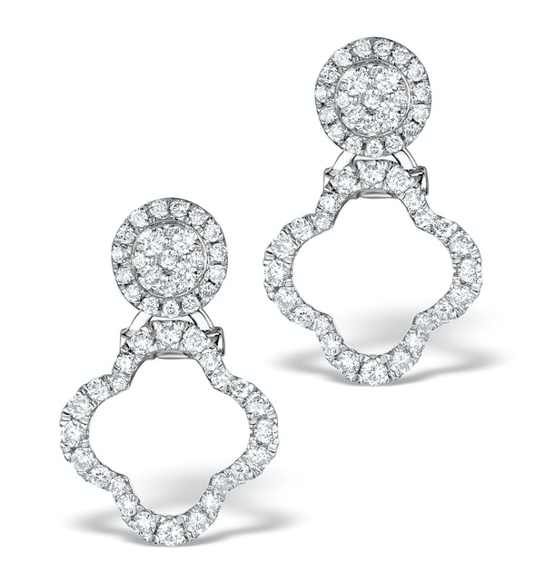 Athena Diamond Drop Earrings Multi Wear 0.71ct 18K White Gold - P3497 - image 1