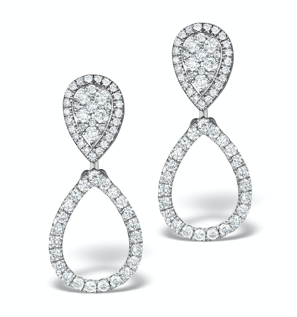 Athena Lab Diamond Drop Earrings Multi Wear 0.90ct 9K White Gold - image 1