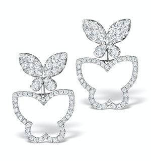 Athena Diamond Drop Butterfly Earrings Multi Wear 1.09ct 18KW Gold