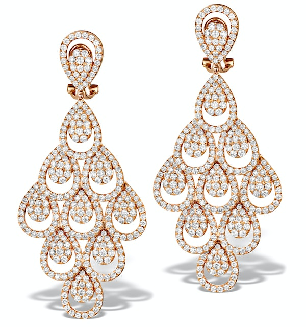 Diamond Halo Pyrus Chandelier Earrings 9.40ct in 18K Rose Gold P3490 - image 1