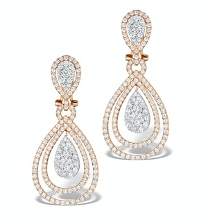 Diamond Halo Drop Earrings 6.66ct in 18K Rose Gold P3491