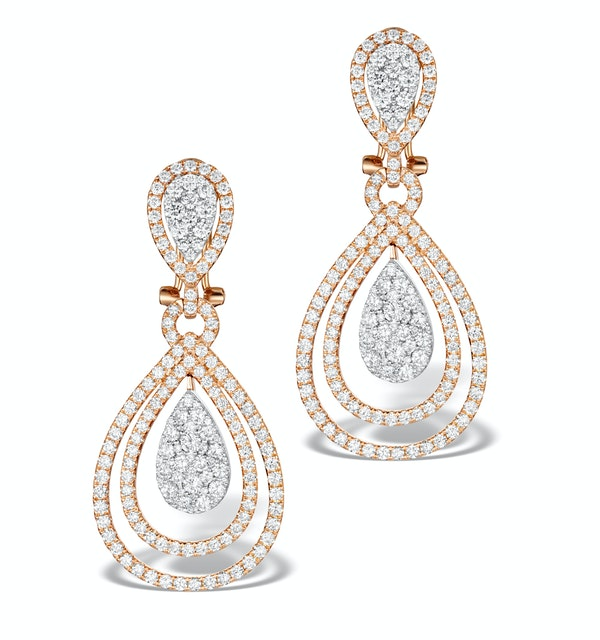 Diamond Halo Drop Earrings 6.66ct in 18K Rose Gold P3491 - image 1