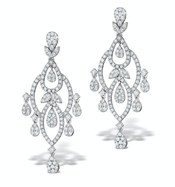 Diamond Pyrus Drop Chandelier Earrings 5ct in 18K White Gold P3402 - image 1