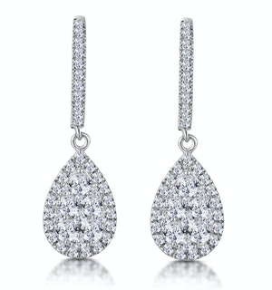 Diamond Pear Cluster Earrings Pave 1.4ct Set in 18K White Gold