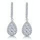 Diamond Pear Cluster Earrings Pave 1.5ct Set in 18K White Gold - image 1