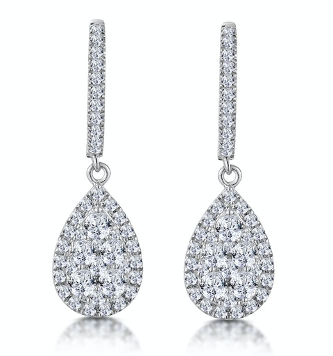 Diamond Pear Cluster Earrings Pave 1.4ct Set in 18K White Gold - image 1