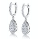 Diamond Pear Cluster Earrings Pave 1.4ct Set in 18K White Gold - image 3