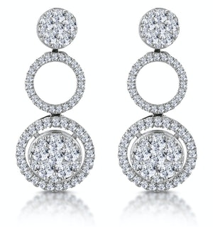 Athena Diamond Circle Multi Wear Earrings 1.3ct Set in 18K White Gold