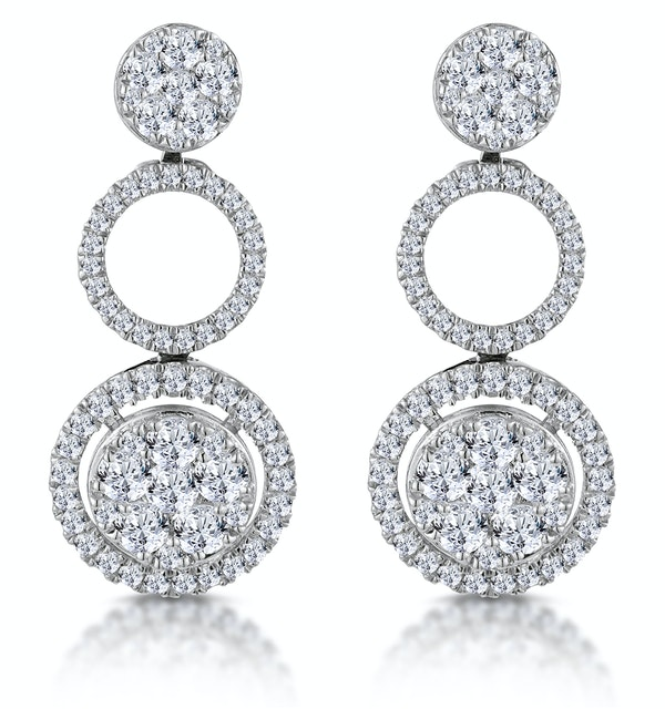 Athena Diamond Circle Multi Wear Earrings 1.3ct Set in 18K White Gold - image 1