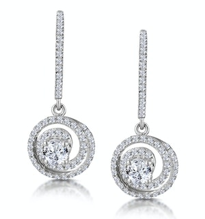 Diamond Swirl Drop Earrings 0.65ct Set in 18K White Gold