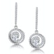 Diamond Swirl Drop Earrings 0.65ct Set in 18K White Gold - image 1