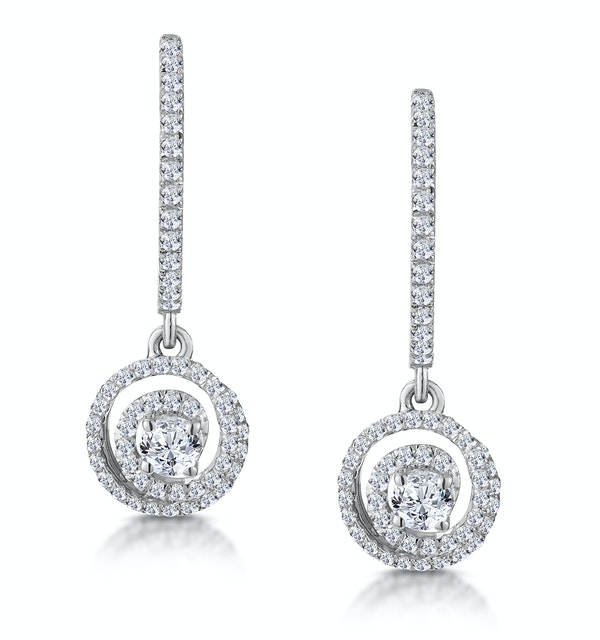 Diamond Swirl Drop Earrings 1.15ct Set in 18K White Gold - image 1