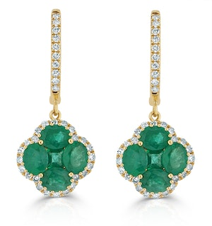 Emerald 2.05ct And Diamond 18K Yellow Gold Alegria Earrings
