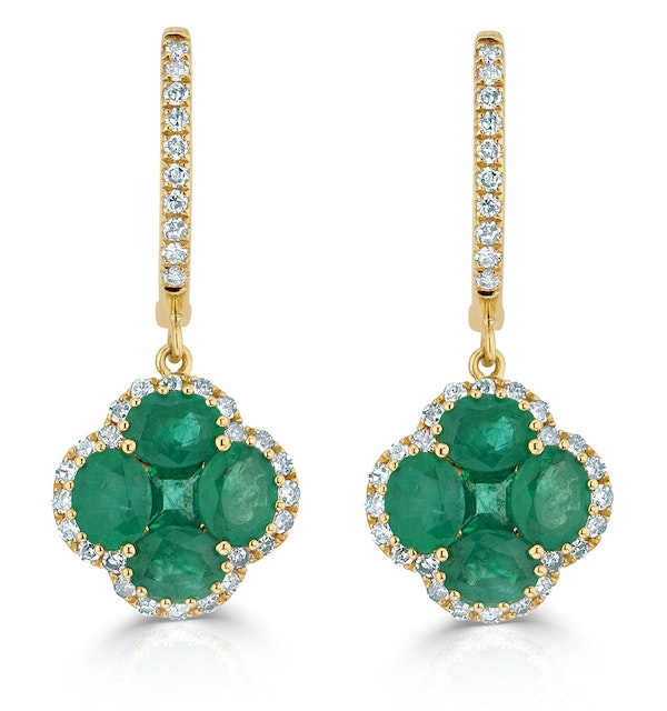 Emerald 2.05ct And Diamond 18K Yellow Gold Alegria Earrings - image 1