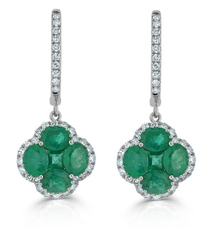 Emerald 2.05ct And Diamond 18K White Gold Alegria Earrings
