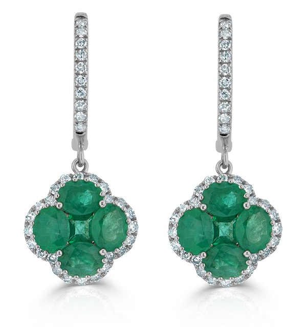 Emerald 2.05ct And Diamond 18K White Gold Alegria Earrings - image 1