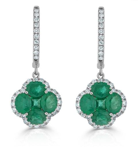 Emerald 2.05ct And Diamond 18K White Gold Alegria Earrings - image 1
