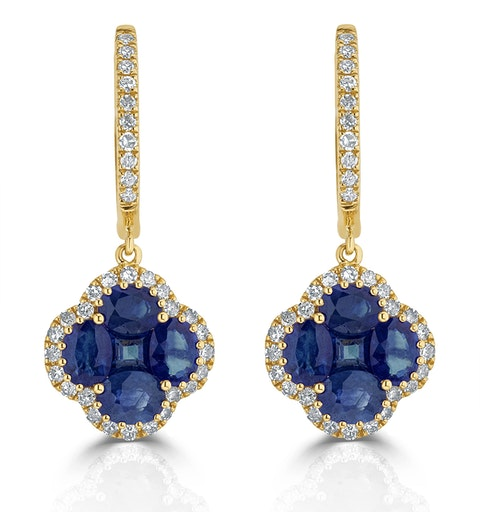 Sapphire 2.15ct And Diamond 18K Yellow Gold Alegria Earrings - image 1