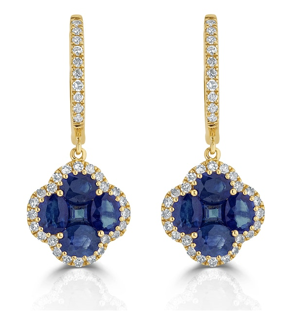 Sapphire 2.15ct And Diamond 18K Yellow Gold Alegria Earrings - image 1