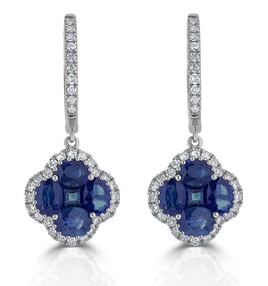 Sapphire 2.15ct And Diamond 18K White Gold Alegria Earrings