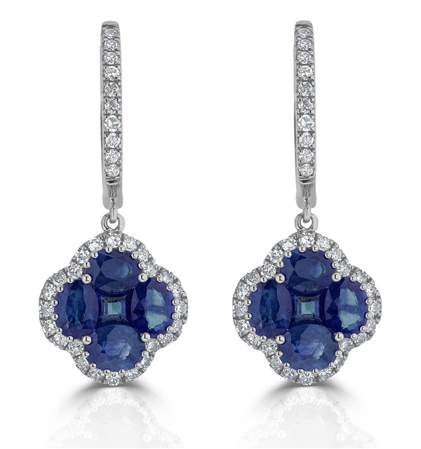 Sapphire 2.15ct And Diamond 18K White Gold Alegria Earrings - image 1