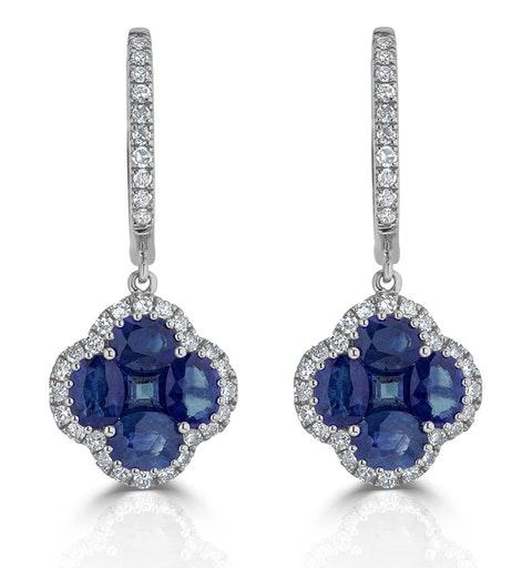 Sapphire 2.15ct And Diamond 18K White Gold Alegria Earrings - image 1