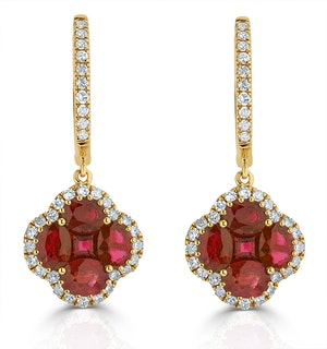 Ruby 2.42ct And Diamond 18K Yellow Gold Alegria Earrings