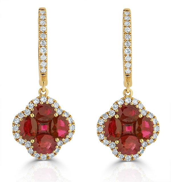 Ruby 2.42ct And Diamond 18K Yellow Gold Alegria Earrings - image 1