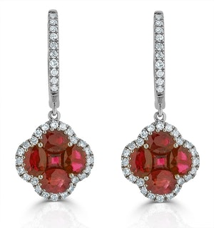 Ruby 2.42ct And Diamond 18K White Gold Alegria Earrings