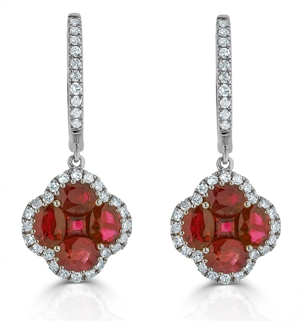Ruby 2.42ct And Diamond 18K White Gold Alegria Earrings - image 1