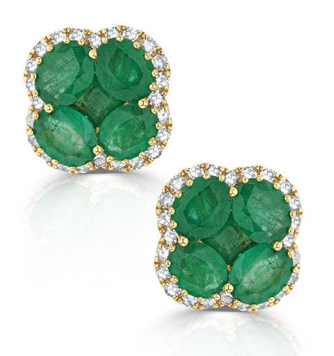 Emerald 2.41ct And Diamond 18K Yellow Gold Alegria Earrings - image 1